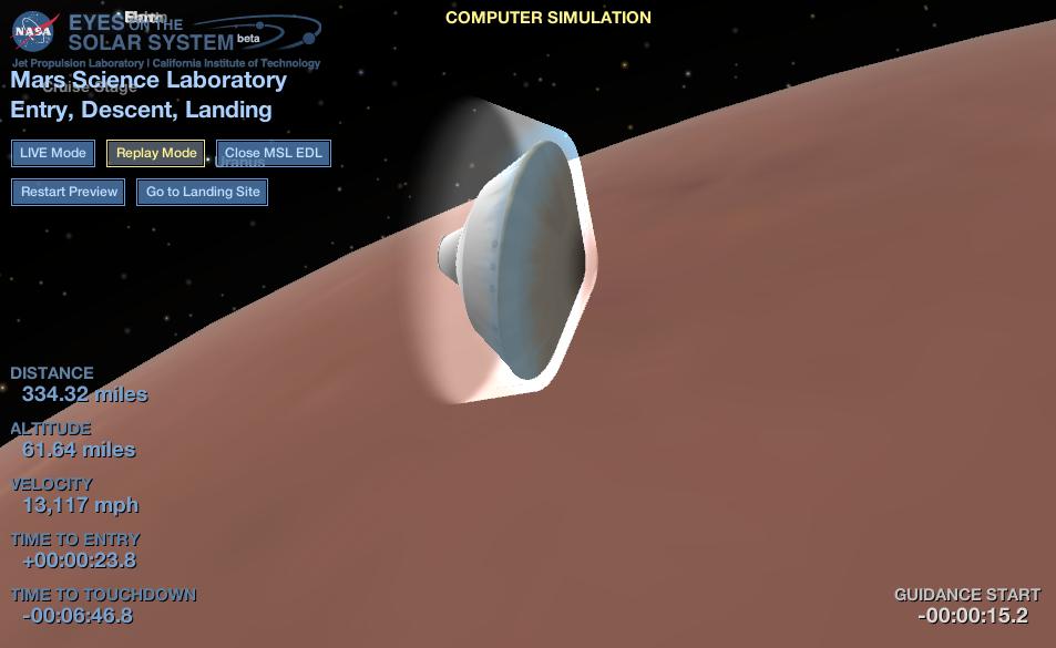 Curiosity Landing from NASA Eyes