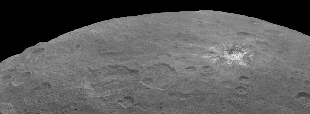 Another white area on Ceres. Image credit: NASA/JPL-Caltech/UCLA/MPS/DLR/IDA