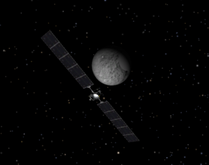 Simulation of the Dawn spacecraft orbiting Ceres on June 24, 2015. Credit: NASA Eyes on the Solar System App.