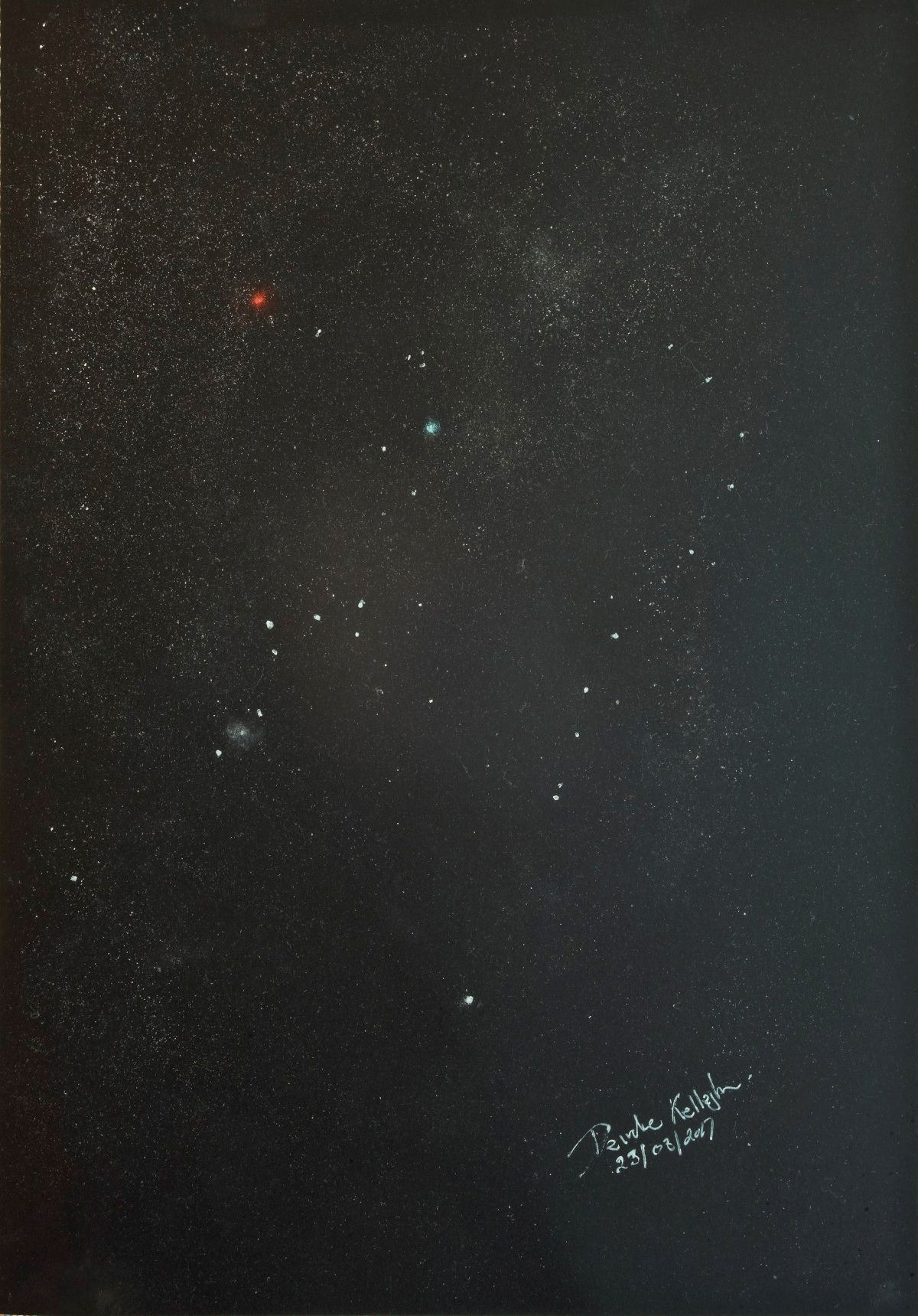Orion a naked eye sketch - by Deirdre Kelleghan