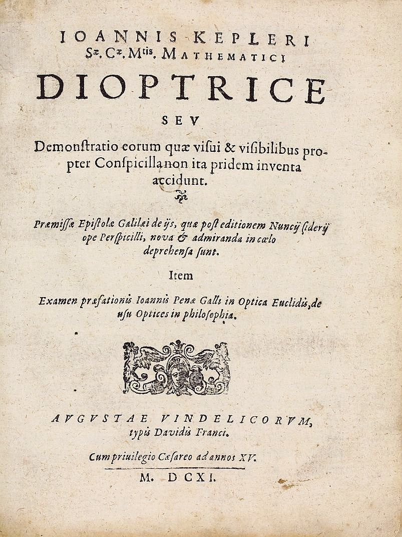 Title page of Kepler's Dioptice, 1611.