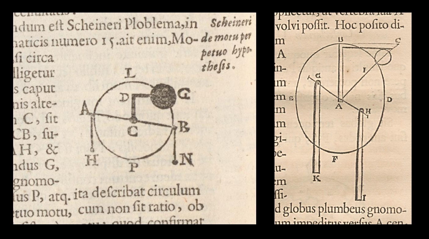Left—Riccioli's version of Locher's diagram. Right—Kircher's version. Note how Frs. Riccioli and Kircher both show only the final outcome of Locher's thought process—namely, the ball orbiting a point—and omit the circles that show the Earth being imagined to be progressively smaller.