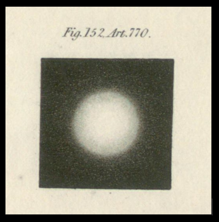 A star as seen through a very small aperture telescope, such as was used in the early seventeenth century (from J. F. W. Herschel's 1828 Treatises on Physical Astronomy, Light and Sound). The globe-like appearance is entirely spurious, an artefact of optics (although this was not understood in Locher's time) that makes the star appear vastly larger than it truly is. The vast sizes required for stars in the Copernican system in order for them both to show such size and to lie at such great distances that Earth's motion around the sun produced no observable effects, was to Locher an argument for Earth's immobility, and thus the Copernican system was to be rejected despite his physics explaining how Earth could orbit the sun.