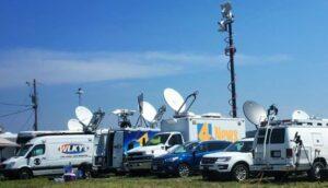 A sampling of the several dozen TV-satellite trucks at the Hopkinsville VIP/Media area.