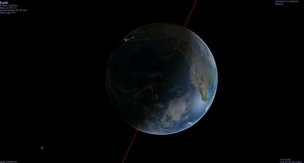 When Celestia starts, you are presented with a view of the Earth, as it appears in real-time. Image from Celestia.