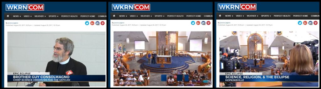 Screen clips from WKRN in Nashville give a taste of the media interest in Br. Guy and the eclipse.