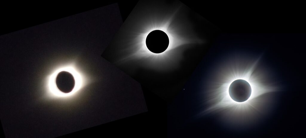 """A variety of cool photos that illustrate both the eclipse and the limitations of photography. Left—an """"Eye of Sauron"""" photo by Fr. Richard Meredith, pastor of Sts. Peter & Paul church in Hopkinsville. Center—photo taken by fellow Kentuckian and frequent commenter on The Catholic Astronomer, Joseph Listerman. Right—photo by Claudio Costa; actually a composite of seven photos varying in exposure from 1 second to 1/1000 of a second (the star Regulus is seen to the left of the corona). All three show the basic three-cornered shape to the corona. But the difference between the real eclipse, and even the composite photo, exceeds the difference between the composite photo and the """"Eye of Sauron""""."""