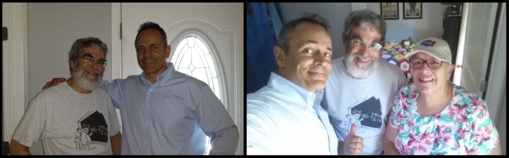 Left—Br. Guy and Kentucky Governor Matt Bevin, at Lynne Hensley's farmhouse. Right—Bevin, Br. Guy, and Lynne.