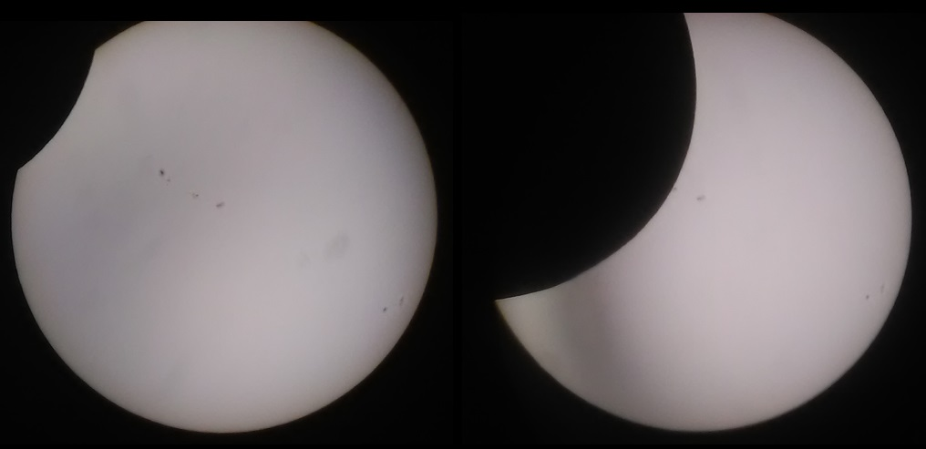 It was remarkable just how quickly the moon ate into the sun. These shots show the sun as seen through the Maksutov telescope at noon and 12:30 pm (Central Daylight Time), respectively.