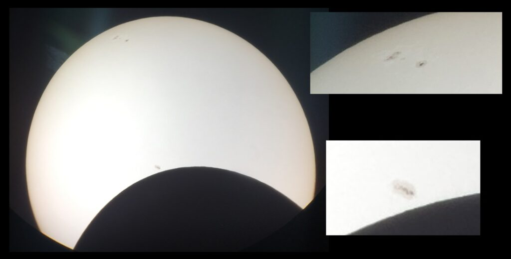Br. Guy's photos, with sunspots enlarged.