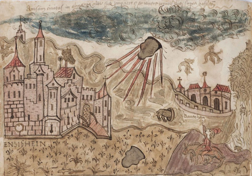 The fall of the Ensisheim Meteorite, 1492, from the Vatican Library (MS Chigi G.11.36, folio 199v)