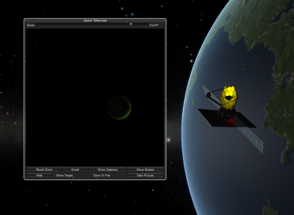 Exploring space with a space telescope - that looks suspiciously like NASA's James Webb Space Telescope, in Kerbal Space Program.