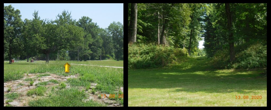 Left—the view from the mound, through gap #2 (arrowed) where the sun would rise on the summer solstice. Right—a view of gap #2 from up close.