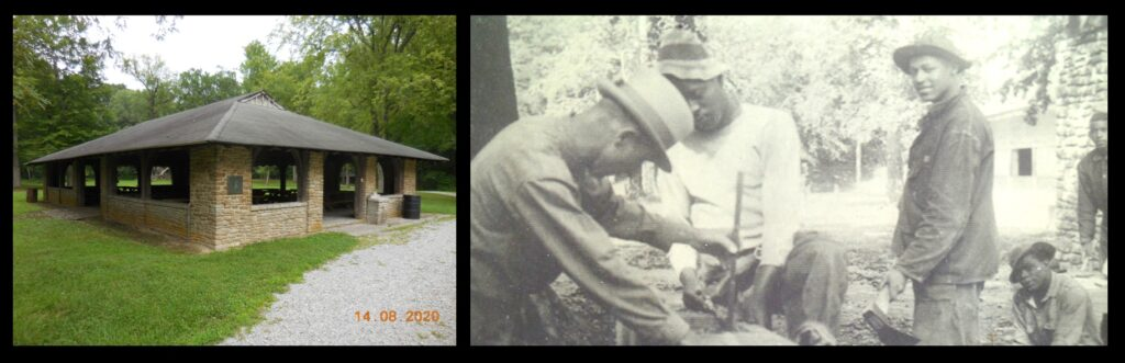 Left—the picnic shelter at Fort Ancient, constructed by the Civilian Conservation Corps in the 1930s. Right—some of the men of the CCC who constructed the shelter and who otherwise made Fort Ancient into such an attractive place to visit.