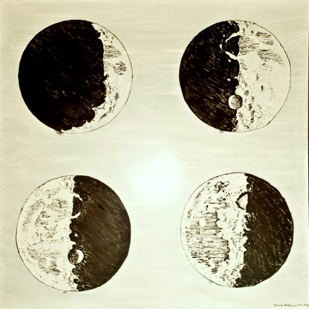 A 3X3 foot painting depicting a reproduction of 4 of Galileo's Moon phase drawings from Sidereous Nuncius - Oil on canvas by Deirdre Kelleghan 2009
