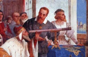 Galileo introducing the Doge of Venice to the telescope.