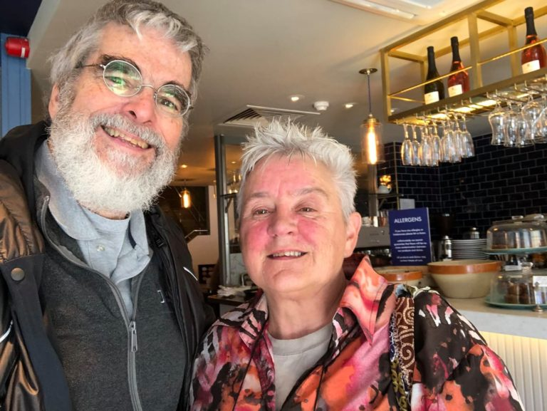 Br Guy Consolmagno and Deirdre catching up in Dublin.
