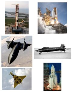 Aerospace technology that is no more: the Saturn V rocket of the Apollo moon landing program, the Space Shuttle, the SR-71 spy plane, the X-15 space plane, the Soviet Tupelov TU-144 supersonic airliner, and the Soviet Buran shuttle.