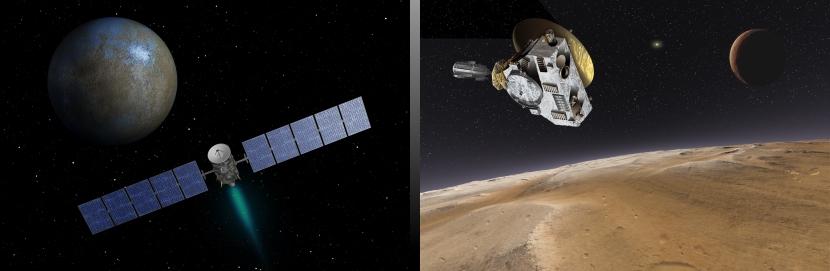 Dawn at Ceres (left), and New Horizons at Pluto. Image credit: NASA/JPL-Caltech