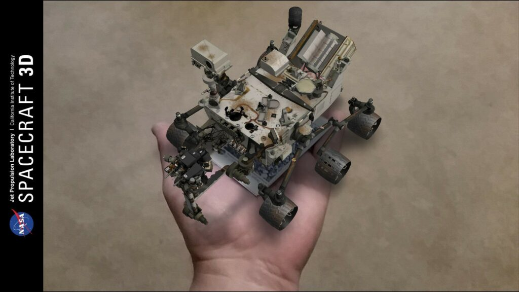 Holding a virtual Curiosity Rover