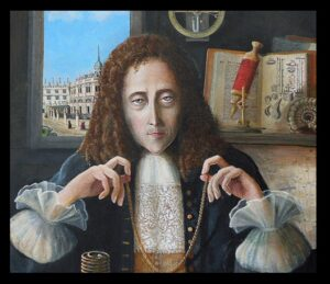 No portrait of Hooke survives. This is a 2009 painting by the artist Rita Greer, based on descriptions of Hooke from his contemporaries.
