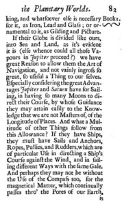 Sailing ships and rope on Jupiter and Saturn—as discussed by astronomer Christian Huygens (1722). Click image to enlarge.