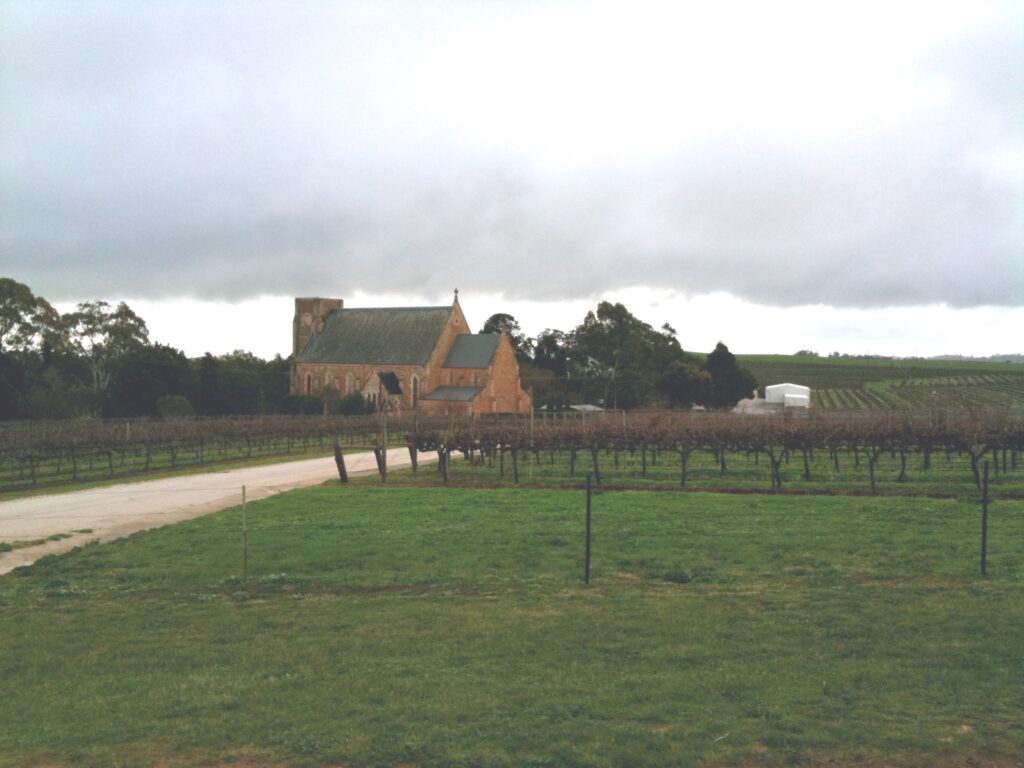 The cloud-covered church of Sevenhill
