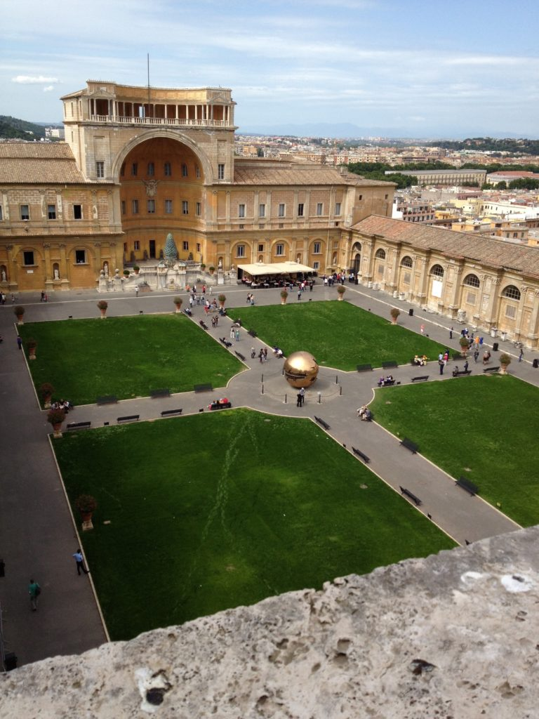 Astronomers love high places. This view of the Vatican Museums' open courtyard was taken from the Tower of the Winds, where the Vatican Observatory had its first offices in 1891.