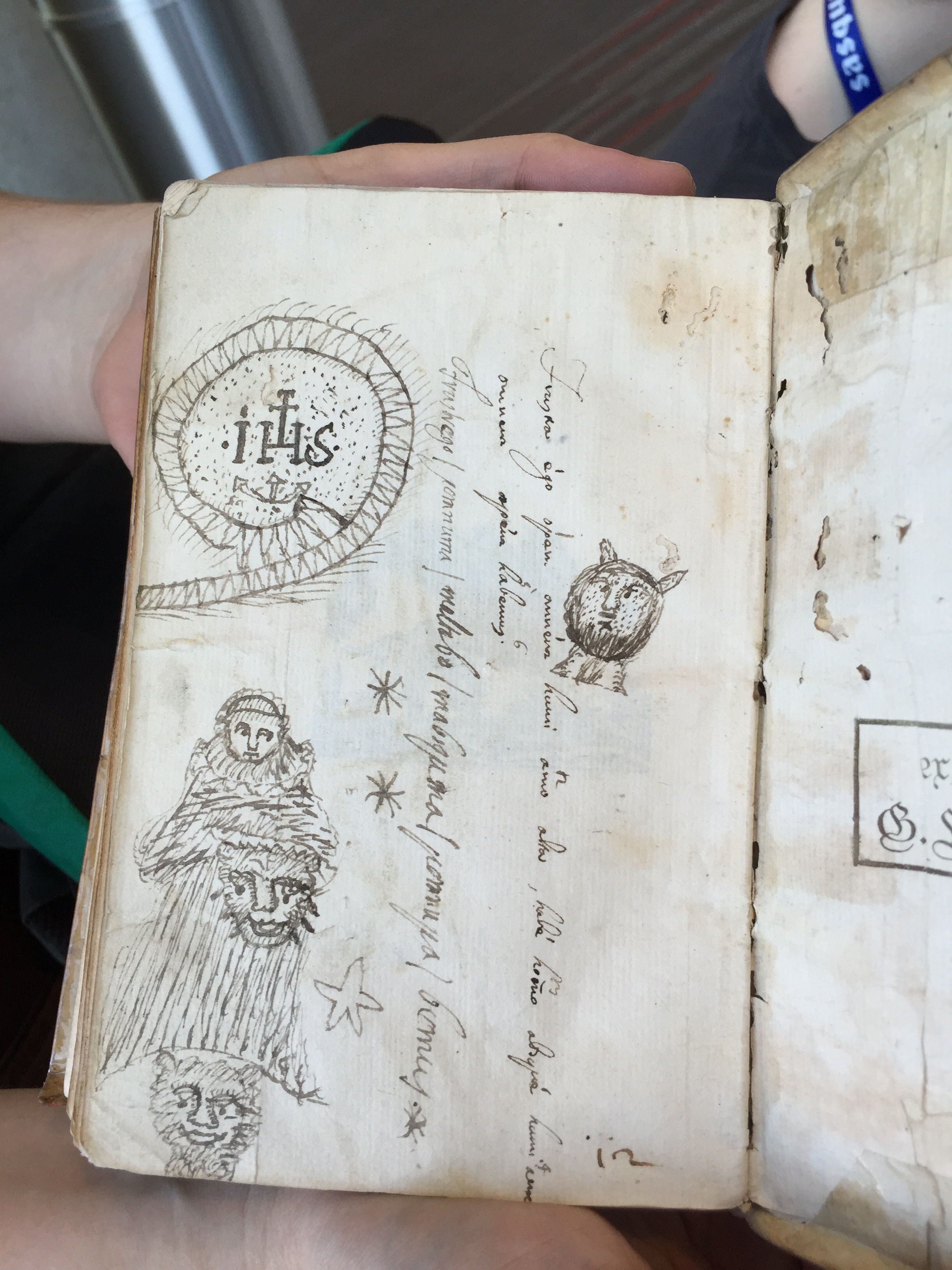 Ada Palmer, a historian at the U of Chicago (and fantasy author) gave a talk on medieval books and then showed me this end-flap doodle by a bored student in the 16th century