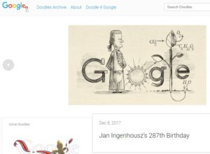 Screen shot of Google's page on the Ingenhousz Doodle.