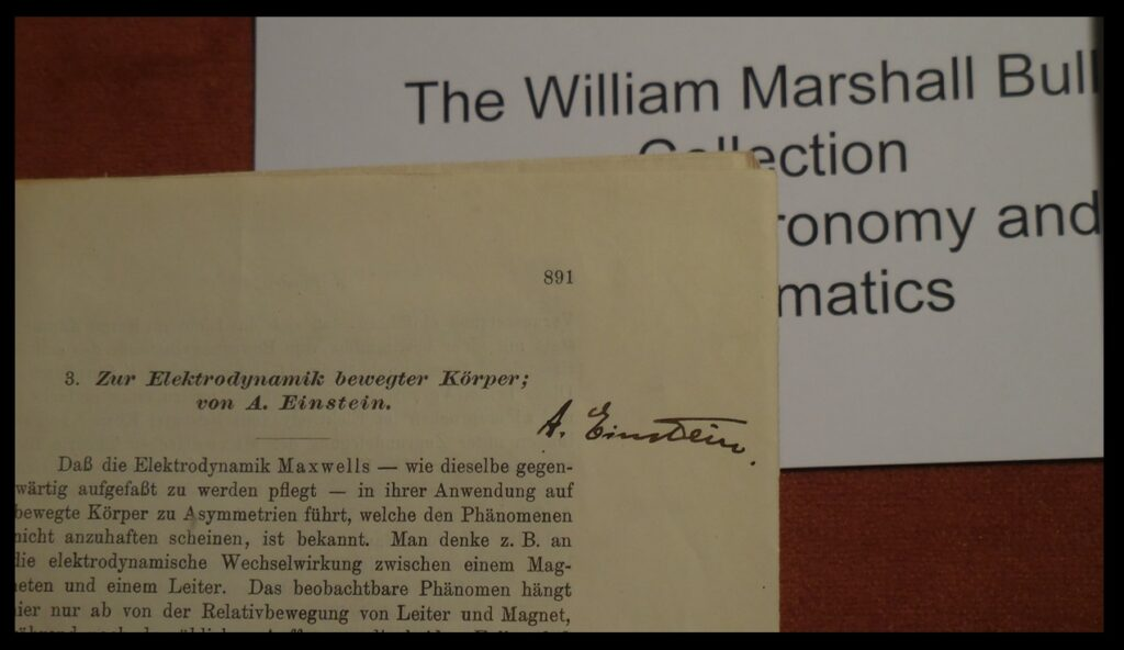 A copy of one of Albert Einstein's works, signed by Einstein.