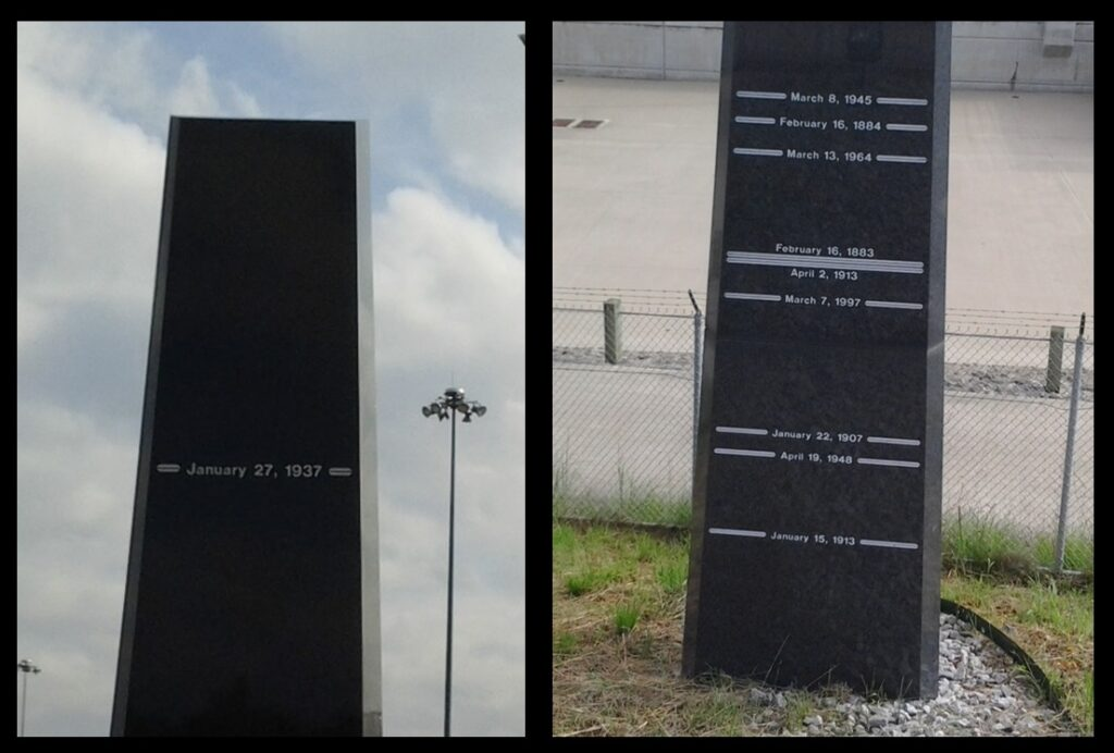 The floods commemorated on the obelisk.