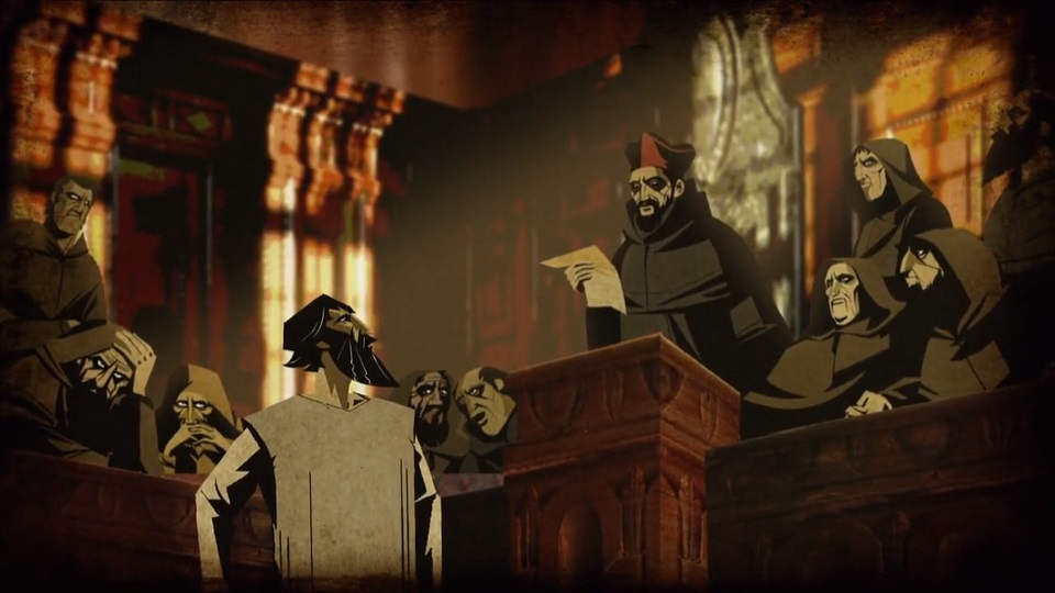 """Bruno before a committee of orc-like church officials, from """"Cosmos"""". The guy in the red hat is probably supposed to be St. Robert Bellarmine."""