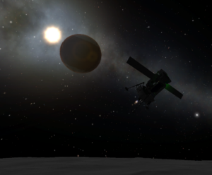 Landing on the moon of another planet in Kerbal Space Program.