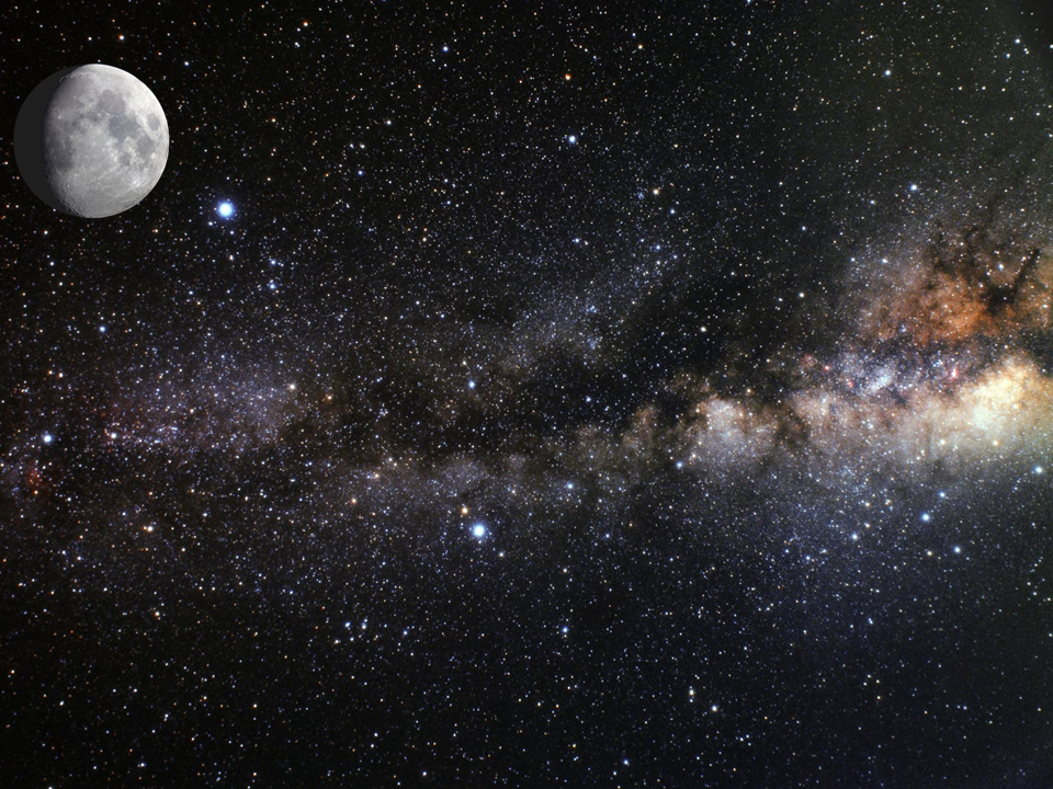The first slide of my Light Pollution Presentation. Moon and Milky Way Image credit: NASA