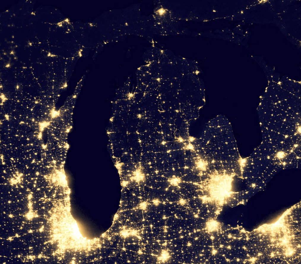This image of the Michigan and surrounds at night is a portion of a larger composite assembled from data acquired by the Suomi NPP satellite in April and October 2012. Click the image to see the USA at night. Credit: NASA Earth Observatory/NOAA NGDC