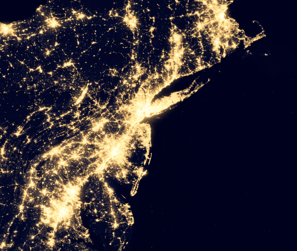 New york and surrounding area at night from Space. Credit: NASA Earth Observatory/NOAA NGDC