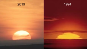"""Rice's images showing the sunrise in the two different """"Lion King"""" movie versions."""