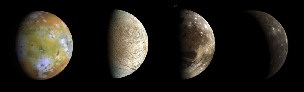 Jupiter's moons (from left to right) Io, Europa, Ganymede, and Callisto, as seen by various NASA probes that were in position to see their unlit halves. These moons do indeed show phases; Locher's reasoning was right on the money.