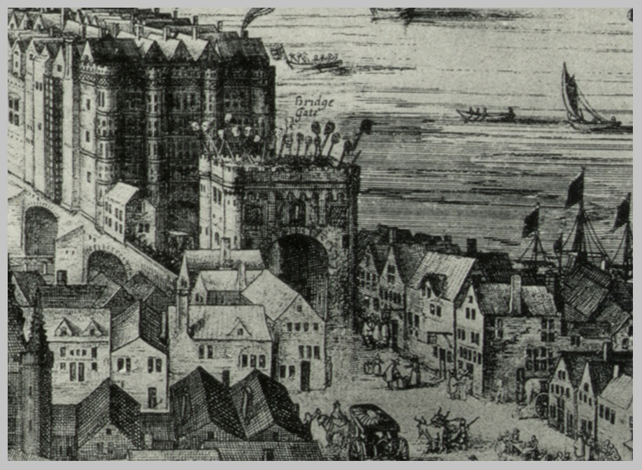 A close-up of the near end of London bridge, showing the many heads of those who had been executed, mounted on pikes for all to see as they went about their daily business with their families.