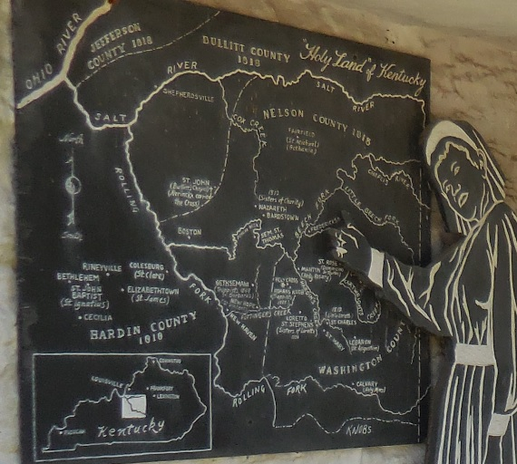 """Map of the """"Holy Land"""" of Kentucky (located in central Kentucky between the Salt River and the Rolling Fork) in a diorama at the motherhouse of the Sisters of Loretto."""