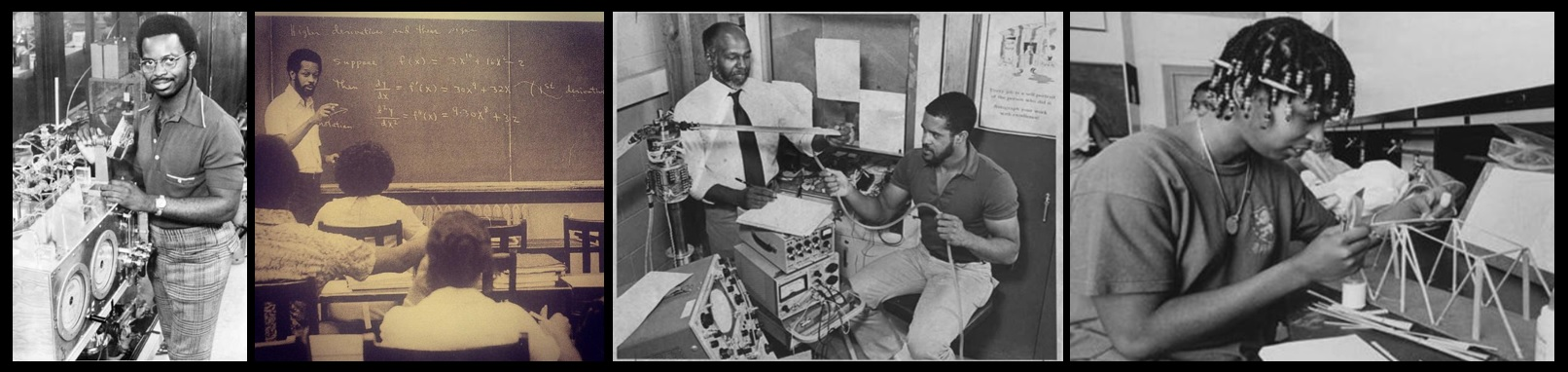 From the MIT Black History Project: Ronald McNair, James Hubbard, Jr. and Wesley Harris, Floyd Williams, Aprille Ericsson.