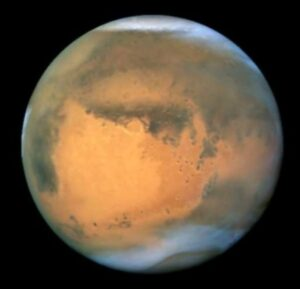 A 2006 Hubble Space Telescope photo of Mars: No canals.
