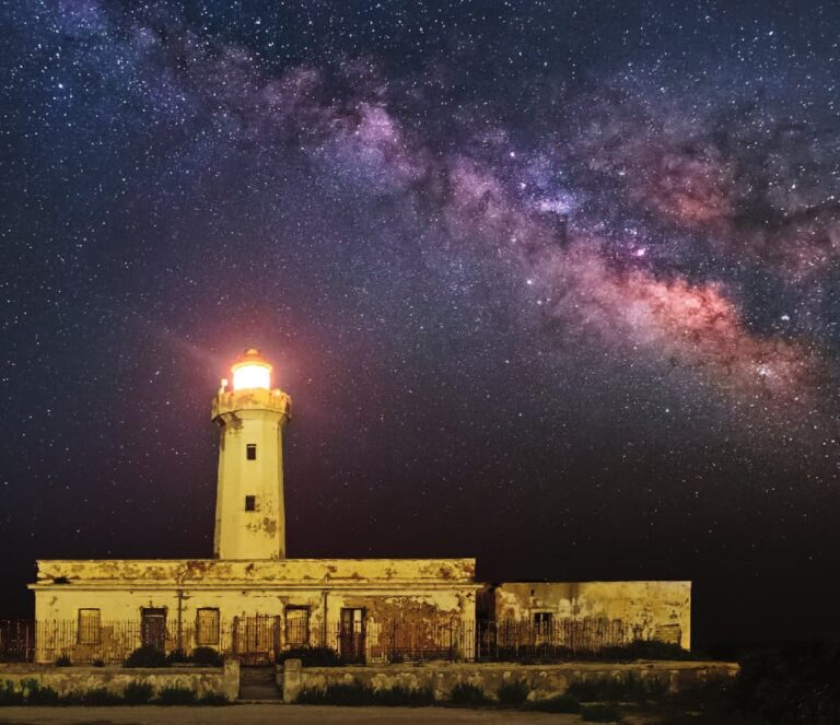 Milky Way Behind The Lighthouse of Plemmirio – Syracuse, Sicily
