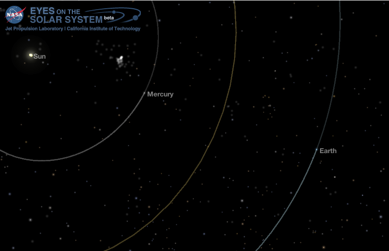 Position of the inner planets during the Mercury Transit, seen from a top-down viewpoint. Credit: NASA Eyes on the Solar System