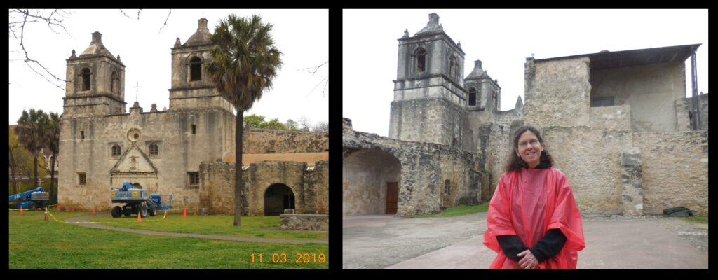 """Mission Concepción, seen from the outside (with one """"anonymous tourist""""!). Note in the left-hand photograph the round window visible over the front door."""