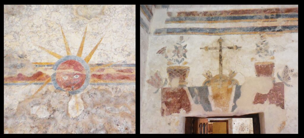 Original paintings on the ceiling and wall of an outbuilding of the mission. Note the sun.
