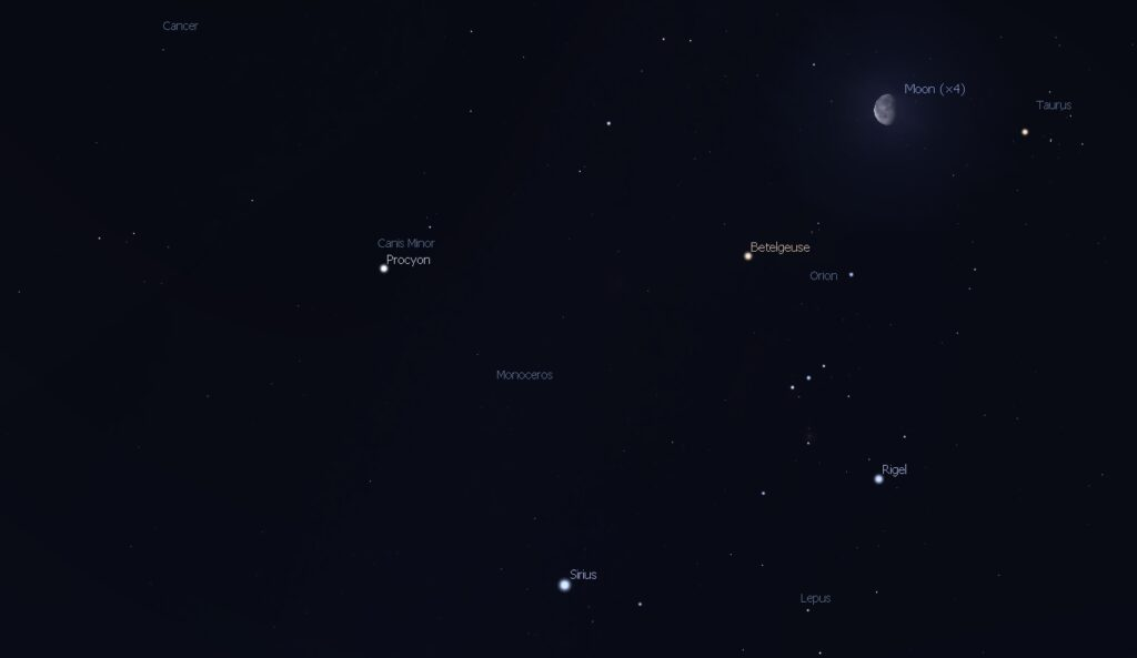 Moon in southern sky Oct. 10, 2017