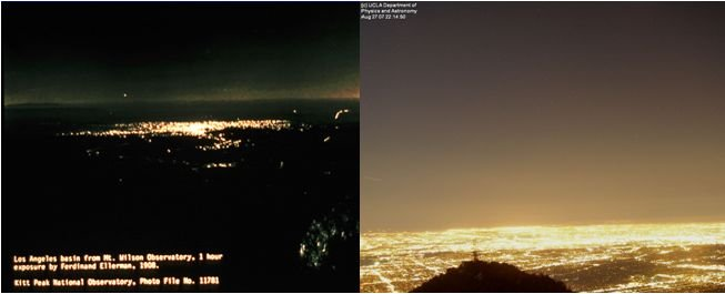 Views of Los Angeles from Mt. Wilson in 1908 (left) and 2007 (right).  Left image courtesy of the International Dark Sky Association. Right image courtesy of the UCLA Department of Physics & Astronomy.