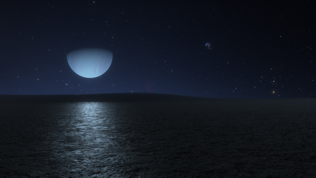 Neptune Seen from Triton